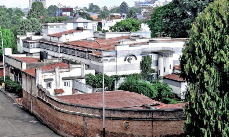 An overview of Mahendra Manjil in Narayanhiti Palace Museum,  where former queen mother Ratna resides. NEA cut power supply to Mahendra Manjil on Sunday.